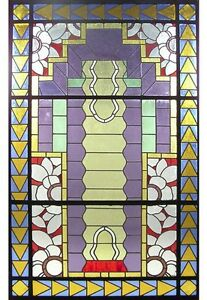 Unusual Asymmetrical Art Deco Leaded Stained Glass Window 6406