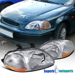 For 1996 1998 Honda Civic Crystal Head Lights Lamps Assembly Clear