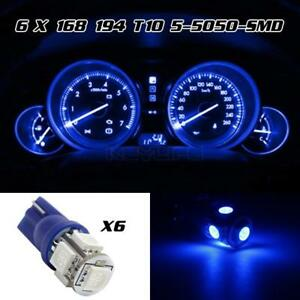 6x Blue 5 Led 12v T10 Interior Instrument Panel Gauge Wedge Light Lamp Bulbs
