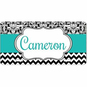 Personalized Monogrammed Car Tag License Plate Chevron Damask Teal Monogram
