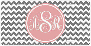 Grey Chevron Pink Personalized License Plate Vanity Tag Car Auto
