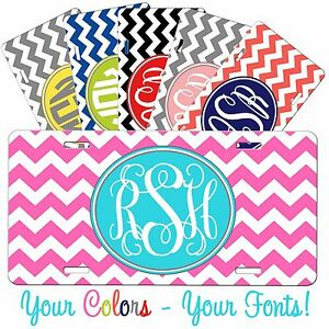 Personalized Monogrammed Car Tag License Plate Thick Chevron Chevrons Monogram
