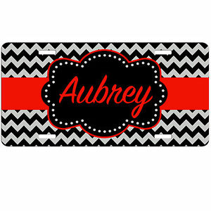 Personalized Monogrammed Car Tag License Plate Chevron Frame Dots Monogram