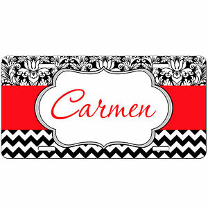 Personalized Monogrammed Car Tag License Plate Chevron Damask Red Monogram