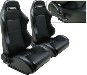 New 1 Pair Black Pvc Leather Racing Seats All Ford
