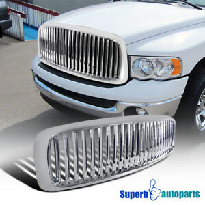 2002 2005 Dodge Ram 1500 2500 3500 Abs Vertical Front Hood Grille Chrome