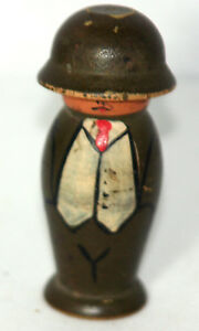 Antique C1800 S Wood Soldier Etui Needle Case Pin Holder Hand Carved