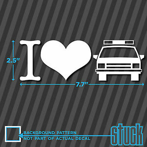 I Heart Cops Cop Car Vinyl Decal Sticker Love Police Hate Bumper Window