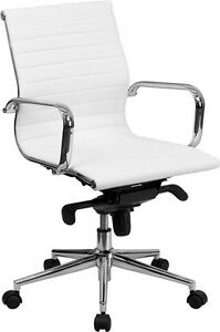 Lot Of 6 White Leather Mid Back Conference Room Table Chairs Polished Base New
