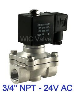 3 4 Stainless Electric Air Water Solenoid Valve Normally Closed 24v Ac Viton