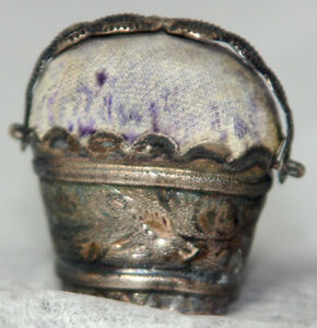 Antique C1800 Sterling Silver Basket Pin Cushion Figural