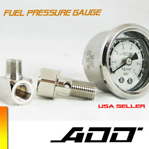 Add W1 Fuel Pressure Regulator Gauge 0 70 Psi Liquid Fill Chrome 0 70