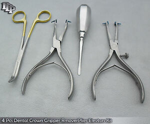 Set Of 4 Pcs Dental Crown Gripper Remover Pliers Elevators Kit Instrument Dn 500