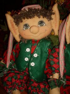 Primitive Raggedy Elf Doll Sheldon Christmas Winter Pattern 109