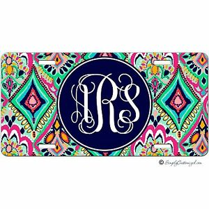 Personalized Monogrammed Car Tag License Plate Pretty Floral Jewels Monogram