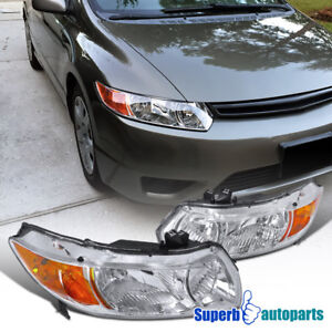 For 2006 2011 Honda Civic 2d Coupe Diamond Headlights Signal Lamps