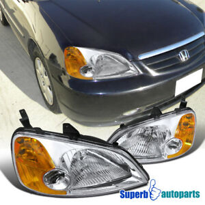 For 2001 2003 Honda Civic Ex Lx Jdm Headlights Chrome Clear Head Lamps