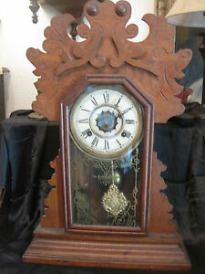 Waterbury Clock Co Gingerbread Clock With Key And Pendulum Kitchen Clock