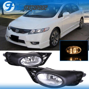 Fit 09 11 Honda Civic Clear Driving Fog Lights Lamps Oe Style Pair With Switch