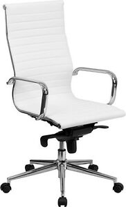 Lot Of 4 White Leather High Back Conference Room Table Chairs Polished Base New