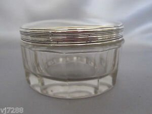 Antique French Sterling Silver Baccarat Crystal Box 1820 S