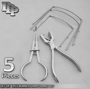 Set Of 5 Pcs Rubber Dam Frames Punch Clamp Dental Endodontic Instruments Kit