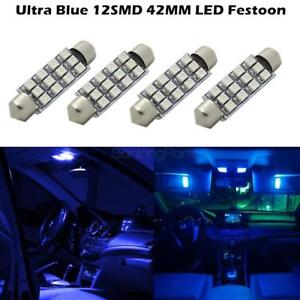4 X Blue 12smd Led Map Dome Interior Lights Bulbs 42mm Festoon