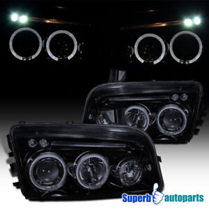 For 2006 2010 Dodge Charger Led Halo Smoke Projector Headlights Glossy Black