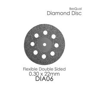 Dental Lab Diamond Disc 6 Perforated 22mm X 0 30mm 6 piece For Porcelain