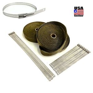 Titanium Lava Exhaust Header Pipe Heat Wrap 2 Rolls 1 x50 Stainless Lock Ties