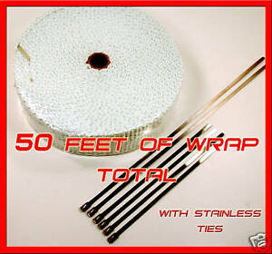 Cafe Bobber Exhaust Heat Header Wrap Kit Stainless Ties 1 8 x 2 X 50 Ft White