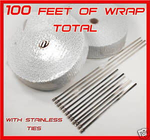 Exhaust Heat Header Pipe Wrap 2 Rolls Stainless Ties 1 8 x2 x 50ft White Thick