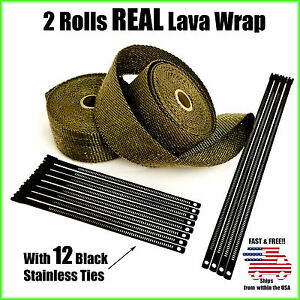 Titanium Lava Exhaust Header Pipe Heat Wrap 2 Rolls 2 X25 Black Stainless Ties