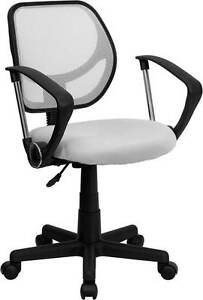 Mid back White Mesh Task Chair And Computer Chair With Arms