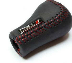 Jdm Trd Black Leather Red Stitch 5sp Manual Shifter Shift Knob