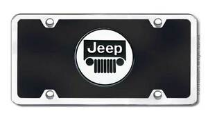 Jeep Logo Acrylic Front License Plate Novelty Black Gloss Genuine