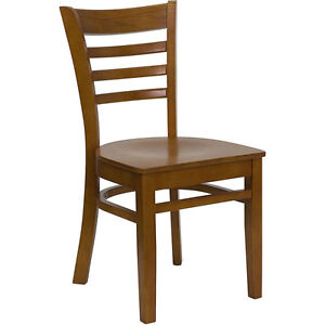 20 Wood Frame Cherry Finish Ladder Back Restaurant Chairs W Matching Wood Seat
