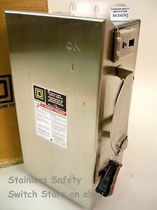 Square D Stainless Hu362ds 60a 600v Non fused Safety Switch 71 Available New