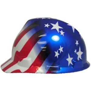 Msa Usa Patriotic Cap Type Hard Hats 5 Styles Ratchet Suspension made In Usa