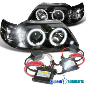 1999 2004 Ford Mustang Halo Projector Headlights Black h1 Slim Hid Kit