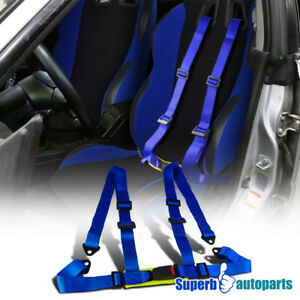 1 Pc Blue Racing Seat Belts 4 Point 4pt Safety Harness