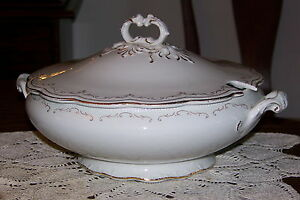 Wm Grindley England Large Tureen W Lid White W Gold Trim Circa 1918