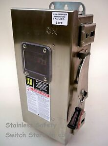 Square D Stainless Chu361ds 30a 600v 3ph Non fused Safety Switch Refurbished