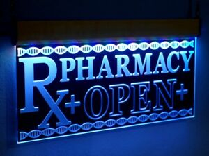 H008 Pharmacy Rx Open Led Sign Neon Light Medical Shop Display Large Drug Store