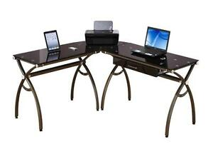 Chocolate Glass L Shape Desk With Oversized Drawer