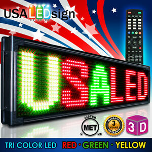 Led Sign 91 x28 20mm Outdoor Programmable Scrolling Message Board Tri Color