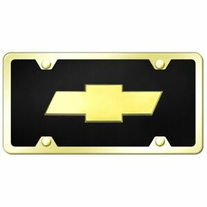 Chevrolet Logo Acrylic Front License Plate Novelty Black Gloss Authentic