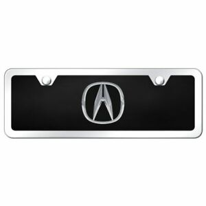 4x12 Acura Logo Acrylic Front License Plate Novelty Black Gloss