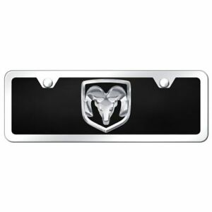4x12 Dodge Ram Logo Acrylic Front License Plate Novelty Black Gloss