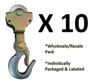 10 pack 2ton Wire Rope Pulley Block W Swivel Eye Hoist Hook Snatch Block